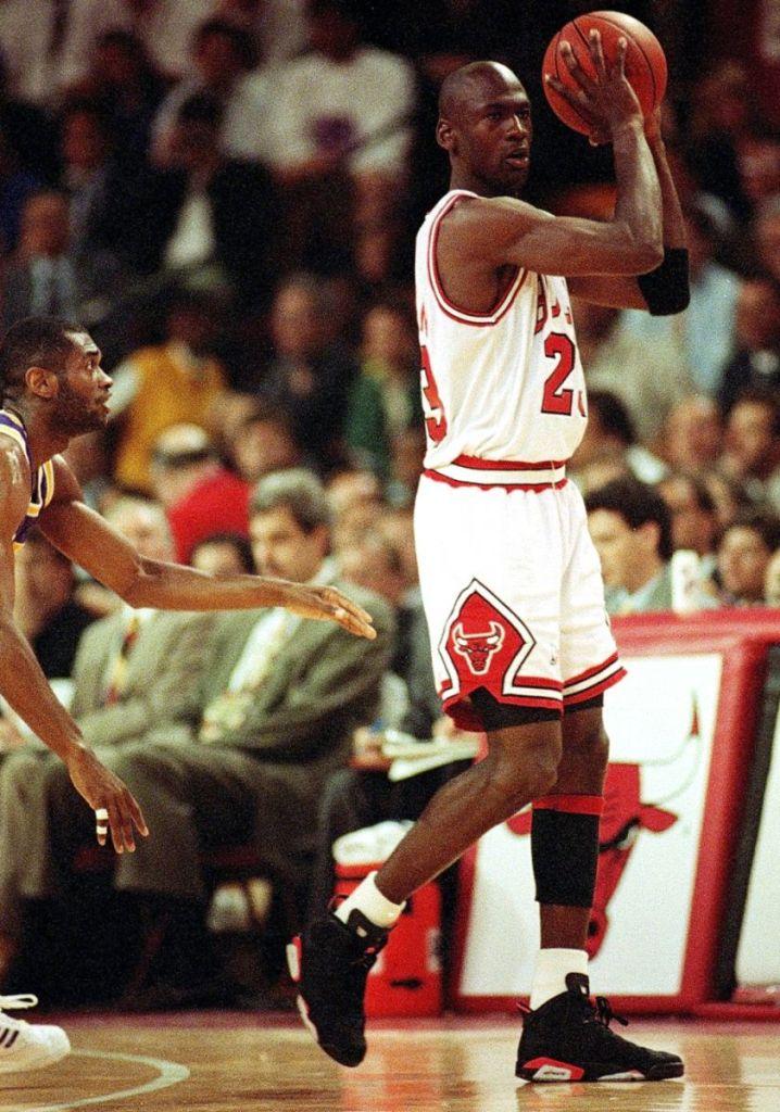 "M.J. wearing Air Jordan VI ""Black Infrared"""