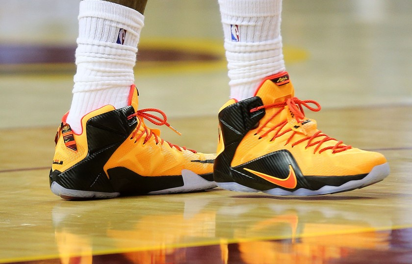 CLEVELAND, OH - JUNE 09:  A detail of the shoes of LeBron James #23 of the Cleveland Cavaliers during Game Three of the 2015 NBA Finals against the Golden State Warriors at Quicken Loans Arena on June 9, 2015 in Cleveland, Ohio.  NOTE TO USER: User expressly acknowledges and agrees that, by downloading and or using this photograph, user is consenting to the terms and conditions of Getty Images License Agreement.  (Photo by Mike Ehrmann/Getty Images)