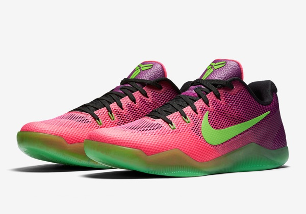 nike-kobe-11-mambacurial-pink-flash-action-green-release-date
