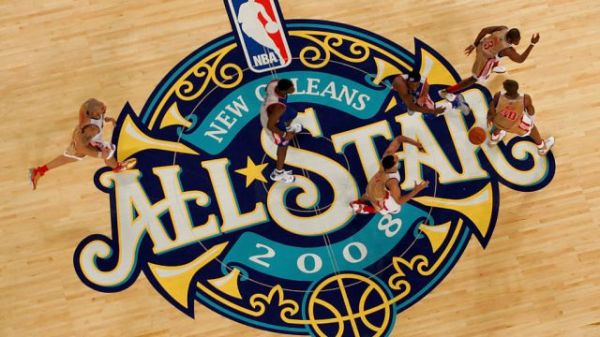 NEW ORLEANS - FEBRUARY 17:  Members of the Eastern Conference and the Western Conference All-Star teams run across mid-court during the 57th NBA All-Star Game, part of 2008 NBA All-Star Weekend at the New Orleans Arena on February 17, 2008 in New Orleans, Louisiana.  NOTE TO USER: User expressly acknowledges and agrees that, by downloading and or using this photograph, User is consenting to the terms and conditions of the Getty Images License Agreement.  (Photo by Ronald Martinez/Getty Images)